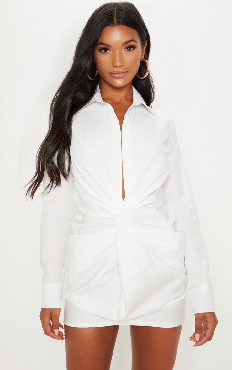 WHITE PLUNGE KNOT DETAIL SHIRT DRESS