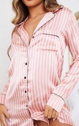 Pink Satin Striped Night Shirt 4