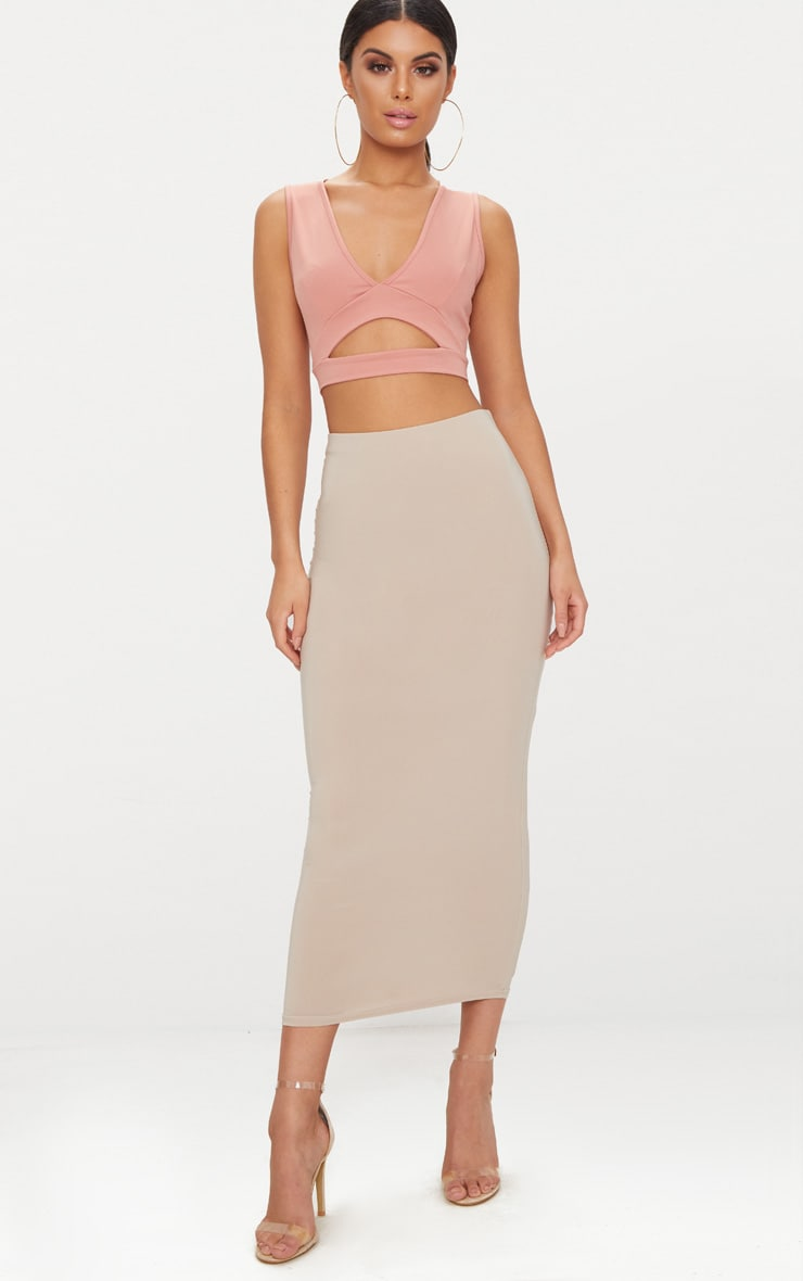 Peach Slinky Cut Out Plunge Crop Top  4