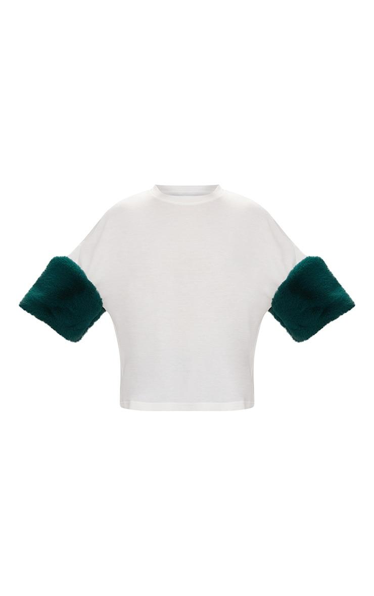 White Faux Fur Short Sleeve T Shirt  3