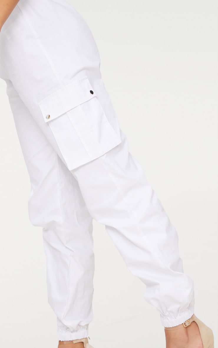 White Pocket Detail Cargo Trousers 6