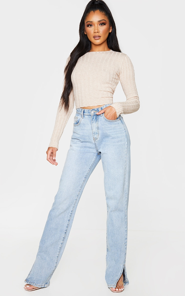 Oatmeal Knot Back Detail Ribbed Knitted Crop Top 3