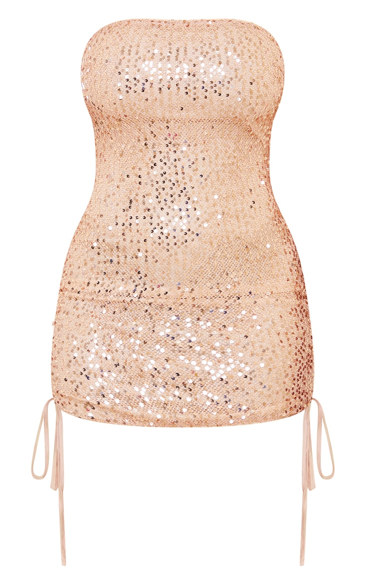 Shape Gold Sequin Lace Up Detail Bandeau Bodycon Dress 5
