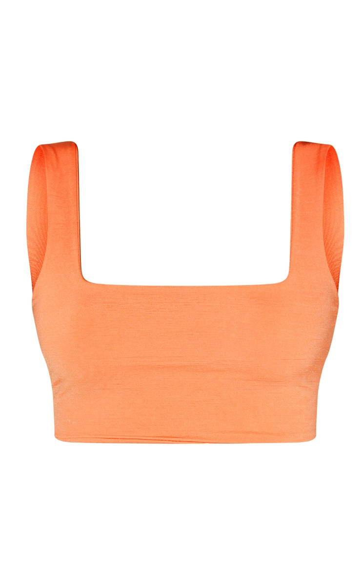 Peach Second Skin Slinky Square Neck Crop Top  3