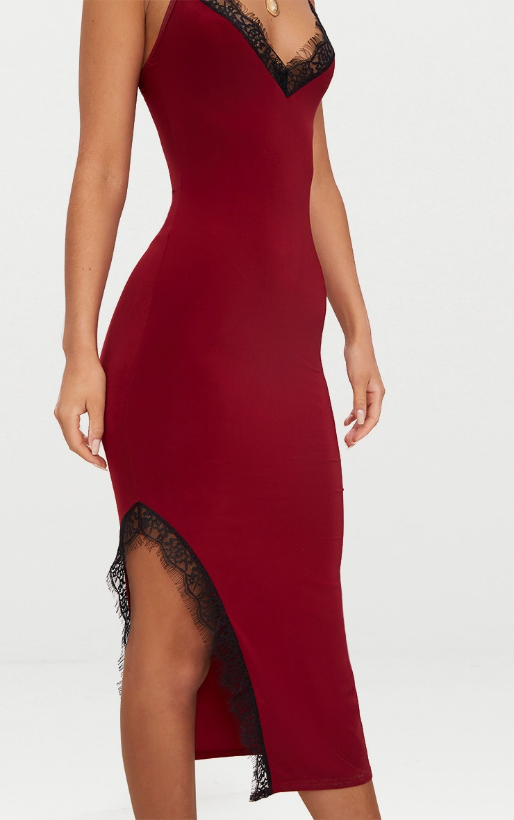 Burgundy Strappy Lace Trim Plunge Split Midi Dress 5