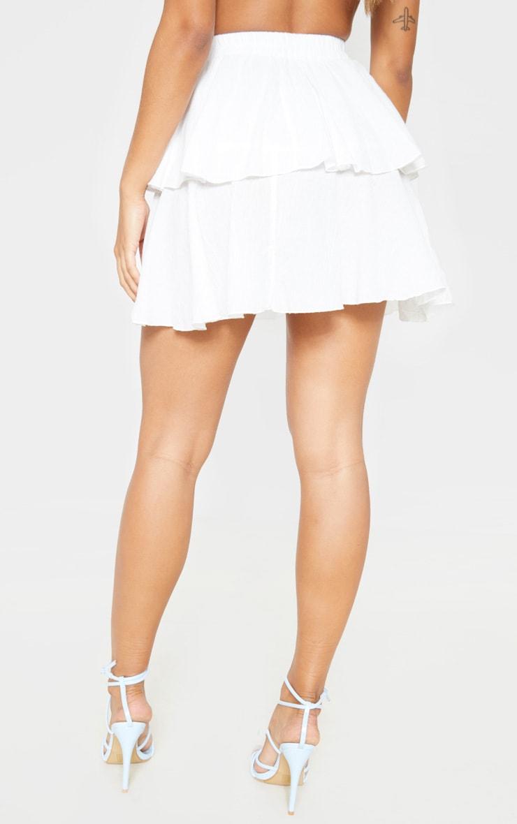 White Woven Tiered Mini Skirt 4