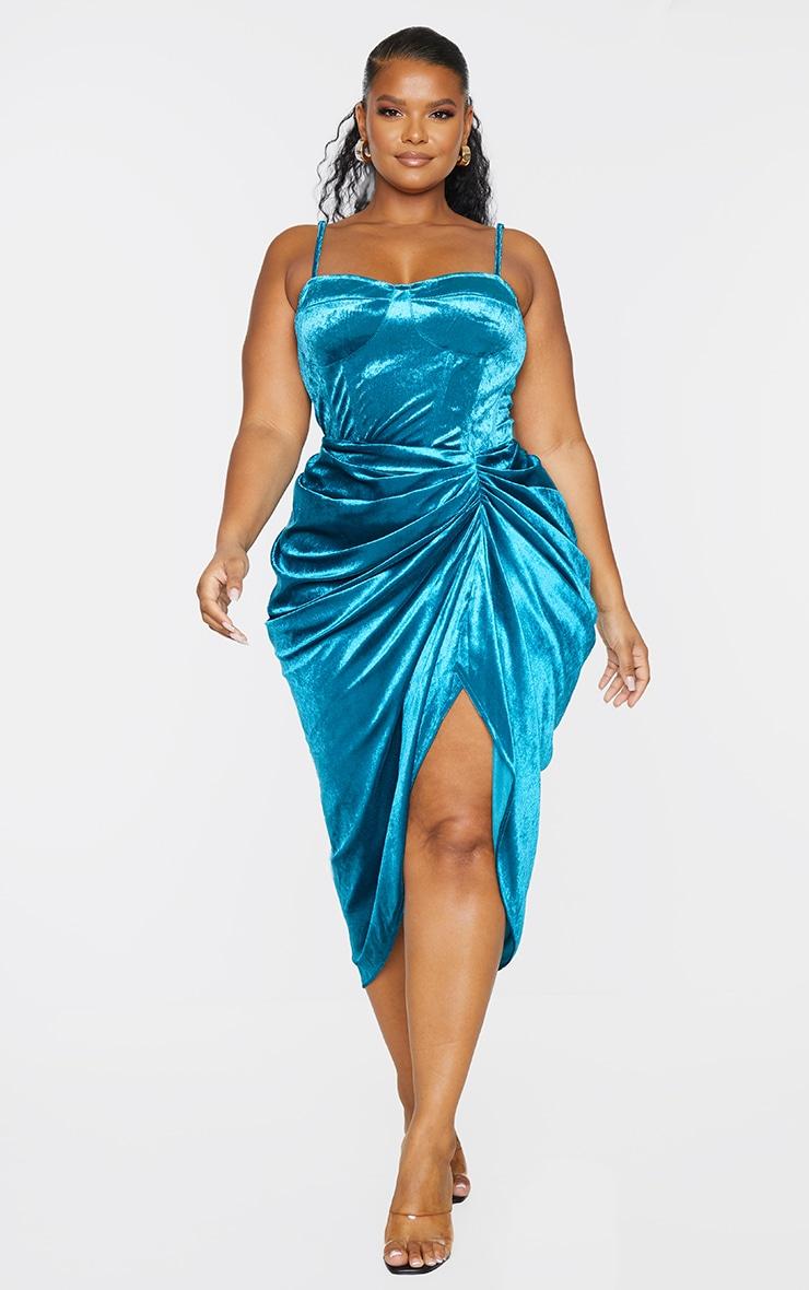 Plus Teal Velvet Ruched Side Midi Skirt 1