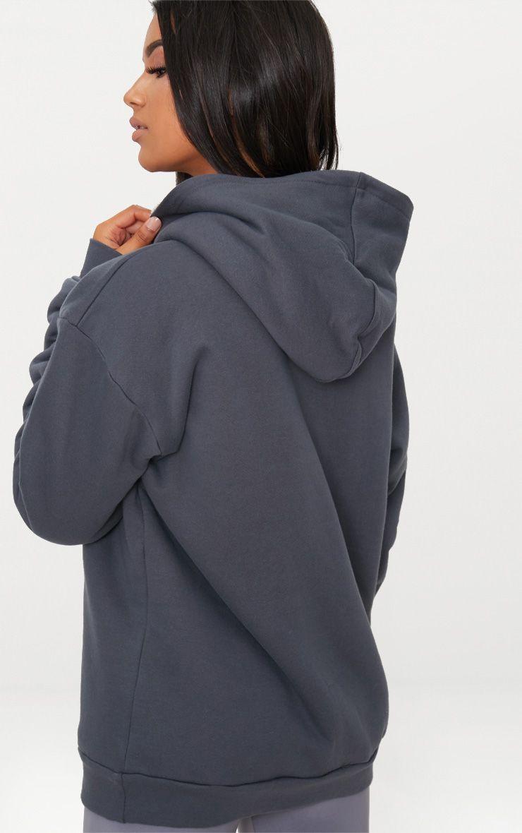 Charcoal Blue Oversized Borg Lined Zip Up Hoodie 2