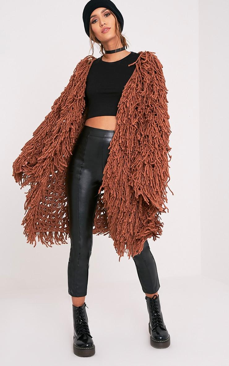 Aslina Cinnamon Shaggy Knit 3/4 Length Cardigan 4
