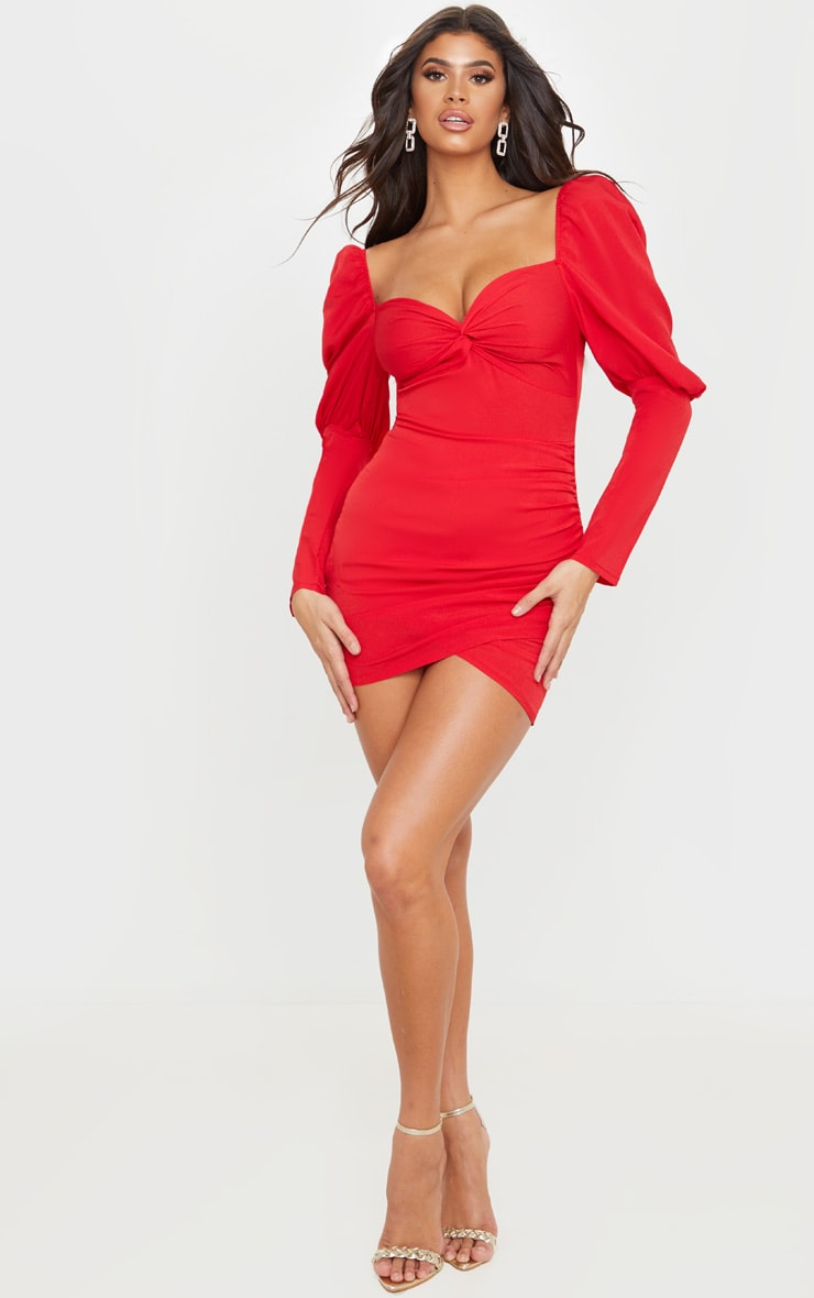 Red Puff Sleeve Twist Detail Bodycon Dress 4