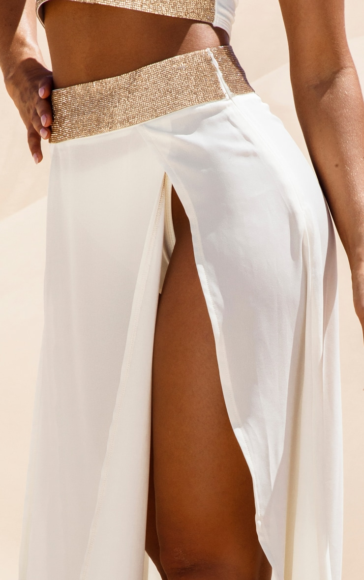 Cream Diamante Waist Split Beach Skirt 5