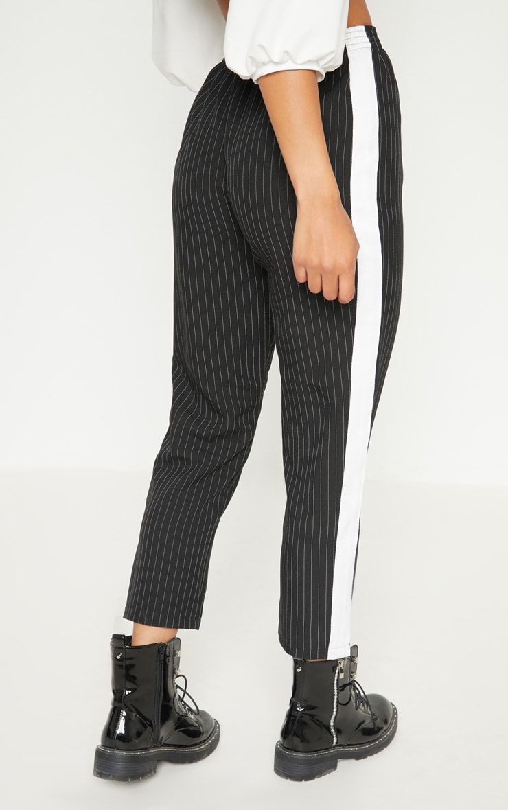 Black Pinstripe Tailored Side Stripe Cigarette Trouser 4