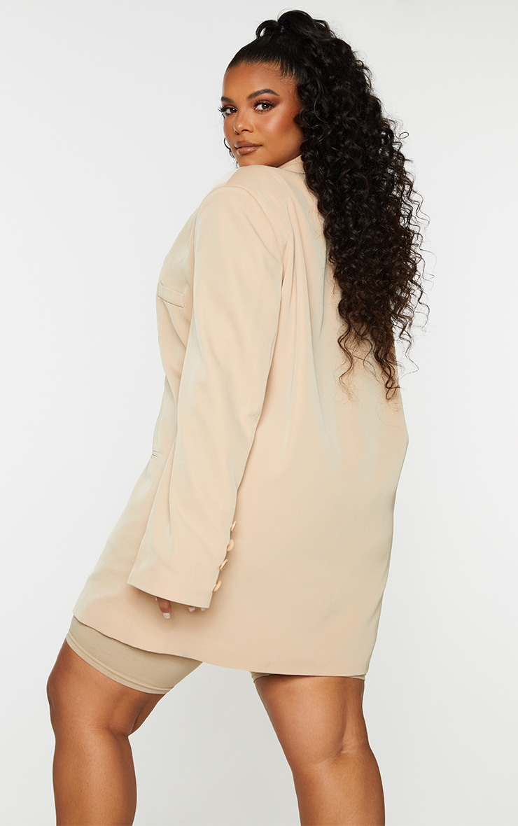 Plus Camel Woven Triple Button Shoulder Padded Oversized Blazer 2