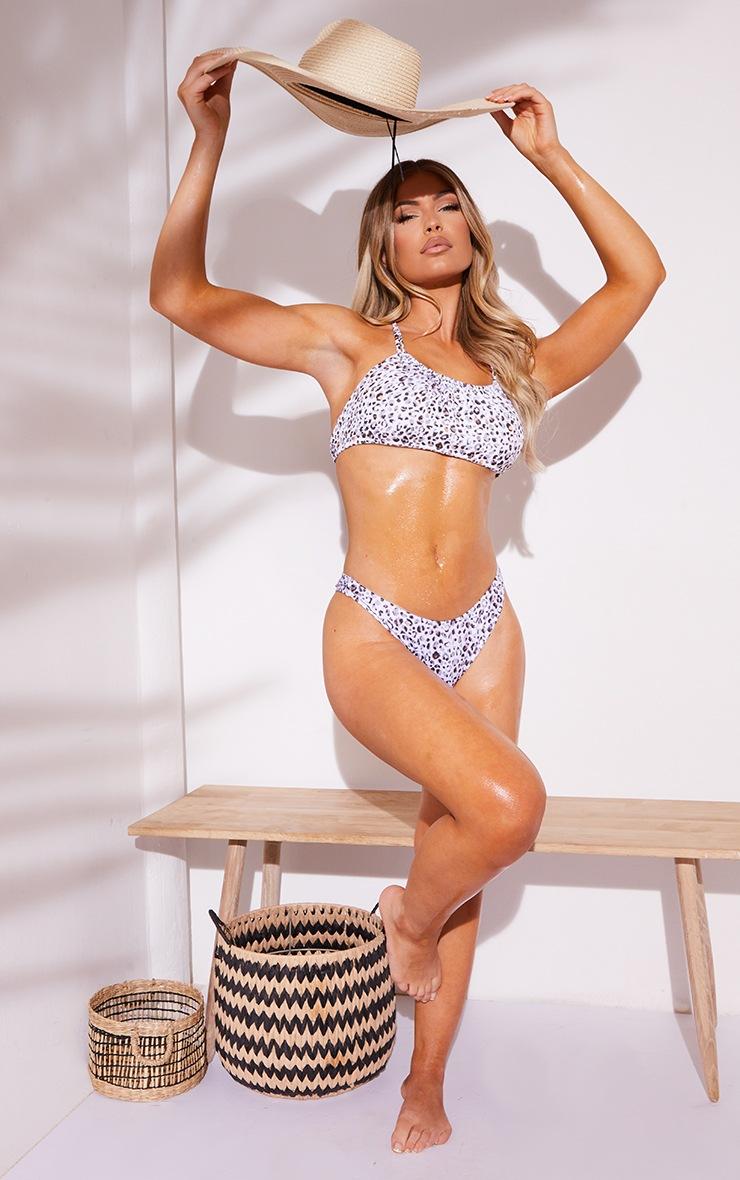 White Leopard V Front Thong Bikini Bottoms 3