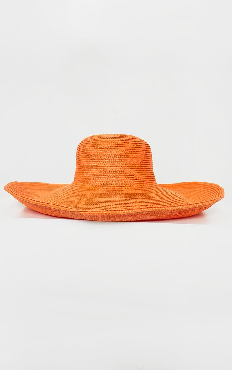 Chapeau de paille orange à larges bords souples 3