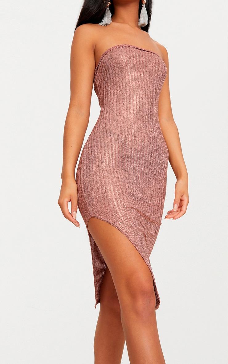 Rose Gold Ribbed Extreme Split Bandeau Midi Dress 5