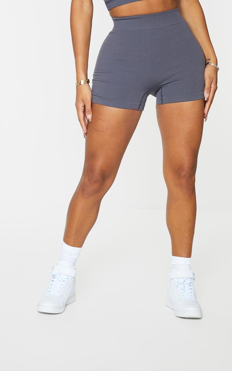 Shape Charcoal Contour Rib Shorts 2