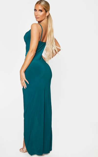 Emerald Green Cowl Neck Tie Waist Maxi Dress