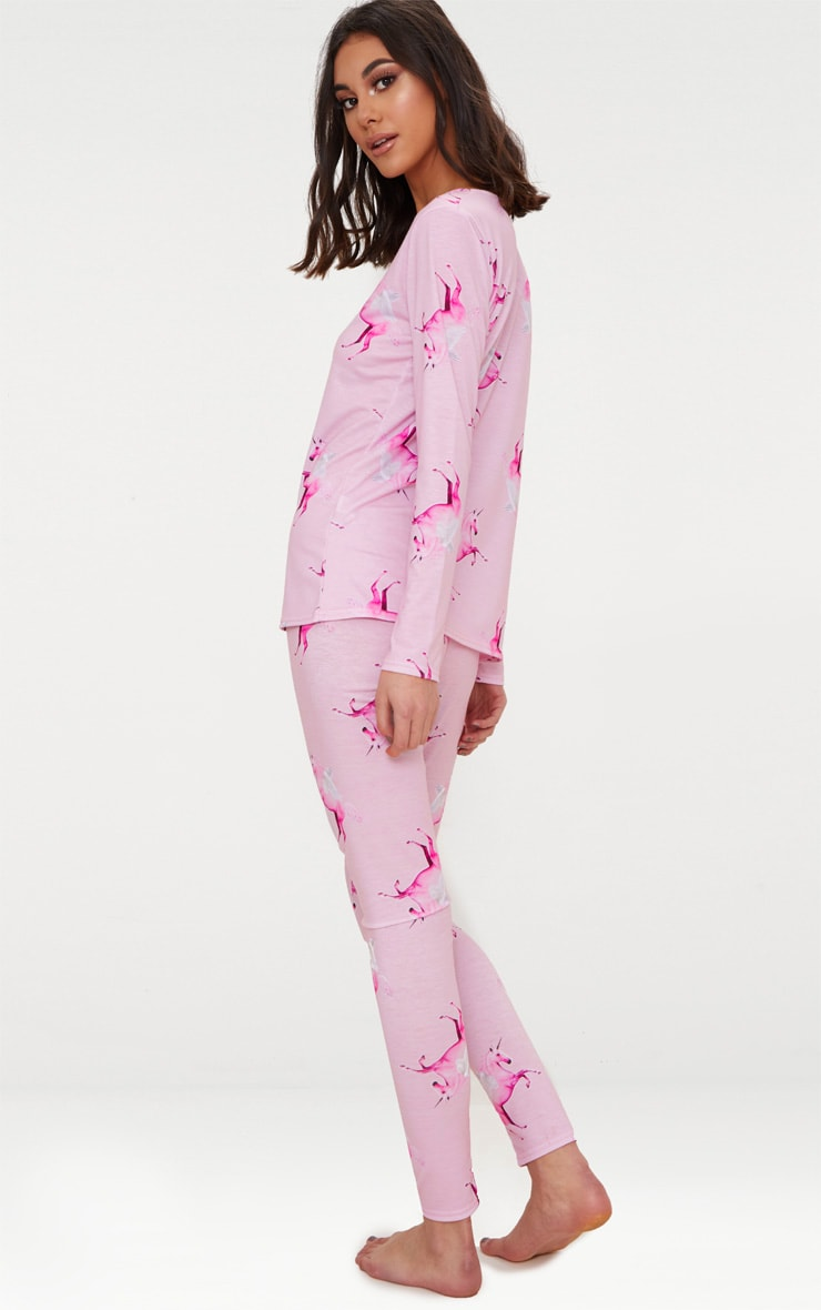 PRETTYLITTLETHING Unicorn Pink Long PJ Set 2