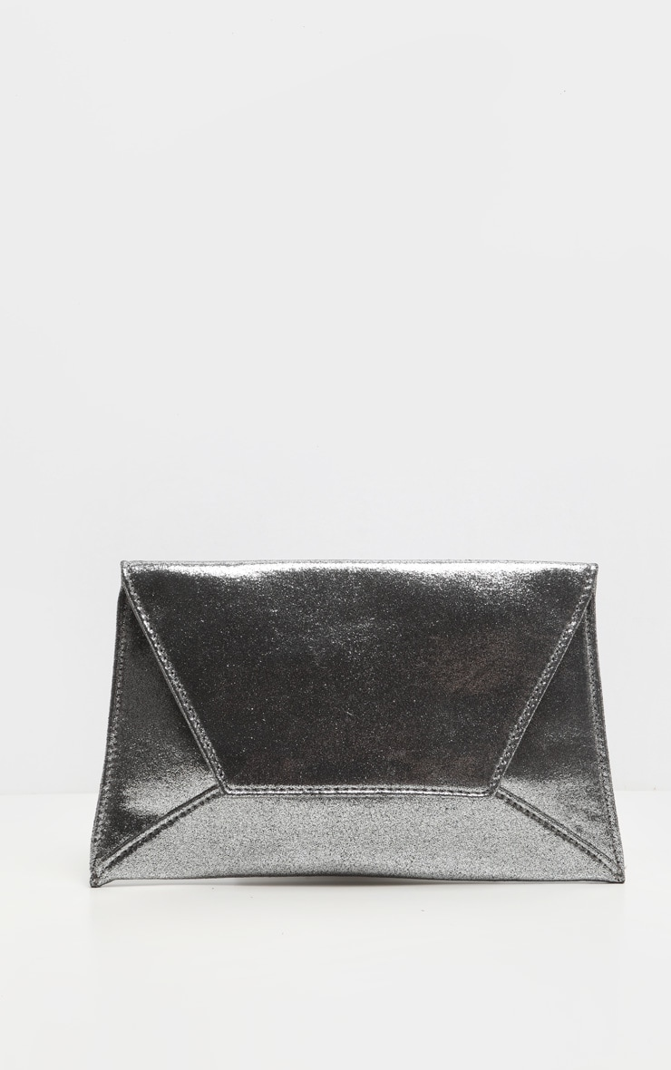 Pewter Shimmer Envelope Clutch Bag 2