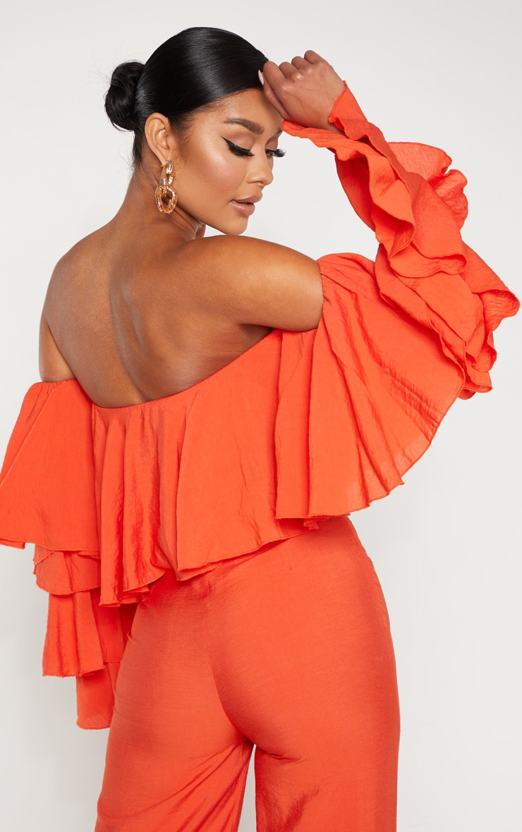 Bright Orange Woven Bardot Tiered Sleeve Crop Top 2