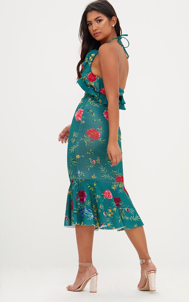 Emerald Green Floral Halterneck Frill Detail Fishtail Midi Dress 2