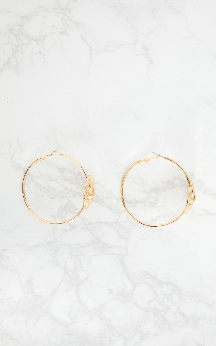 Gold Lion Detail Hoop Earrings  4