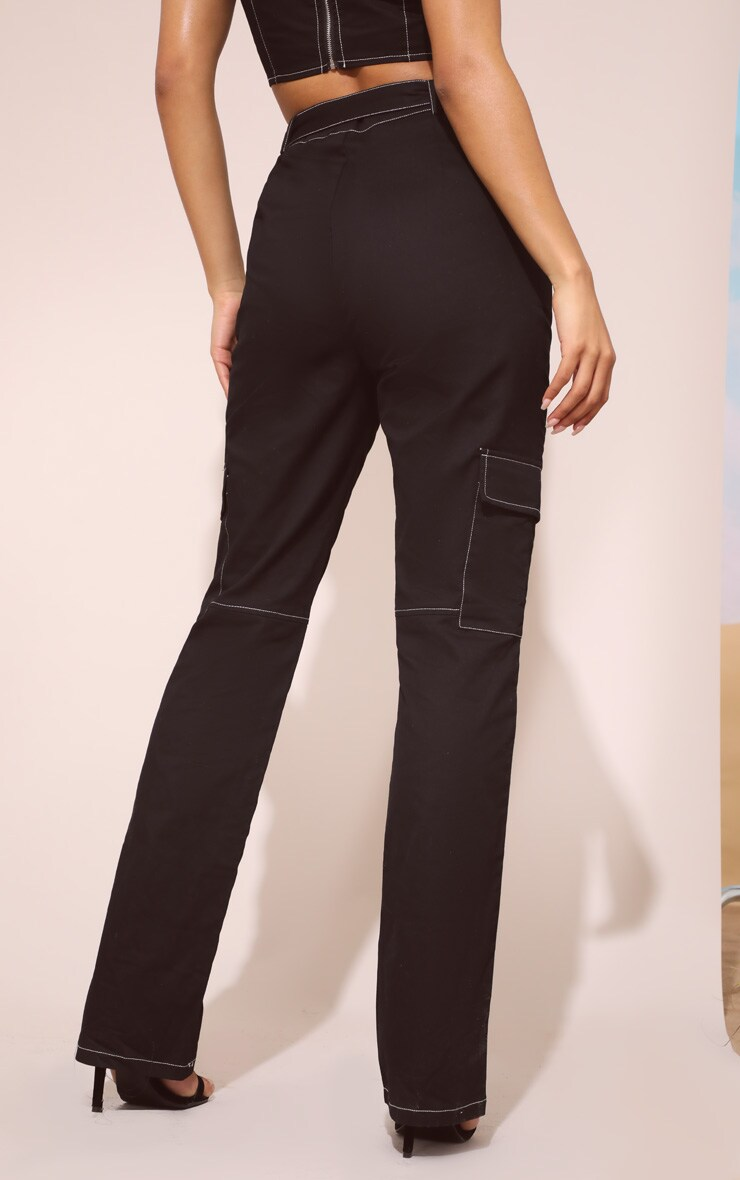 Black Contrast Stitch Straight Leg Pants 4