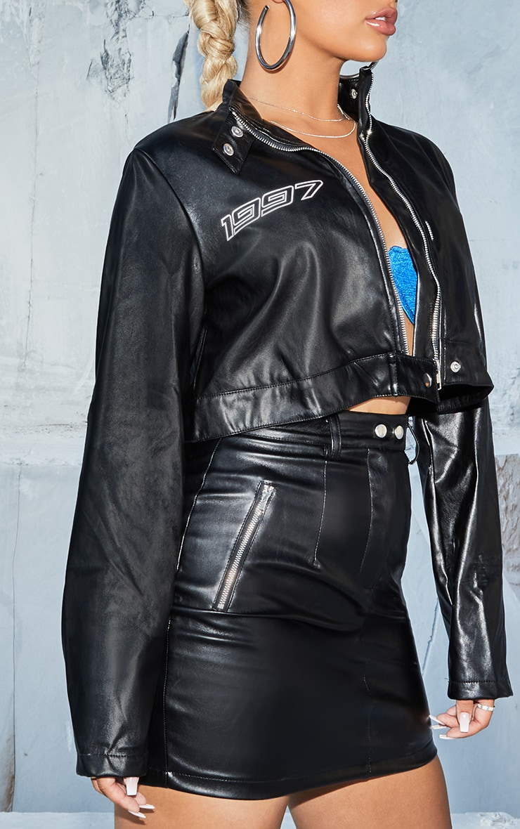 Black PU Crop Jacket 4