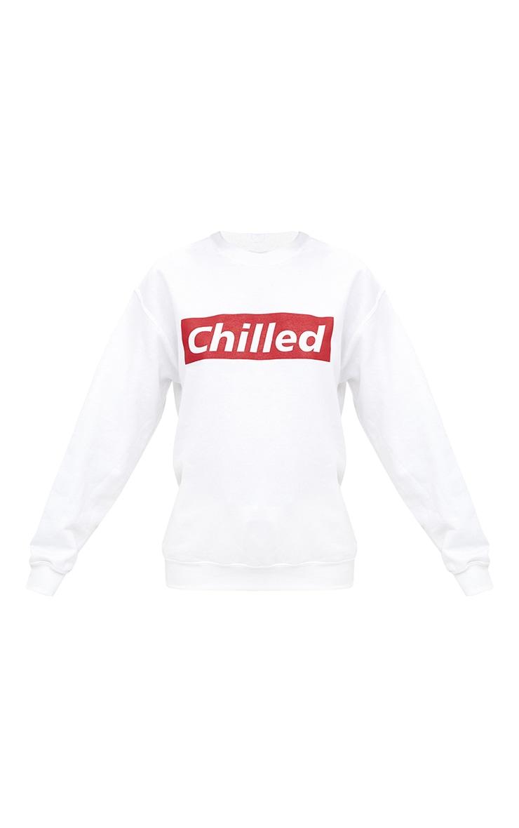 White Chilled Slogan Sweater 3