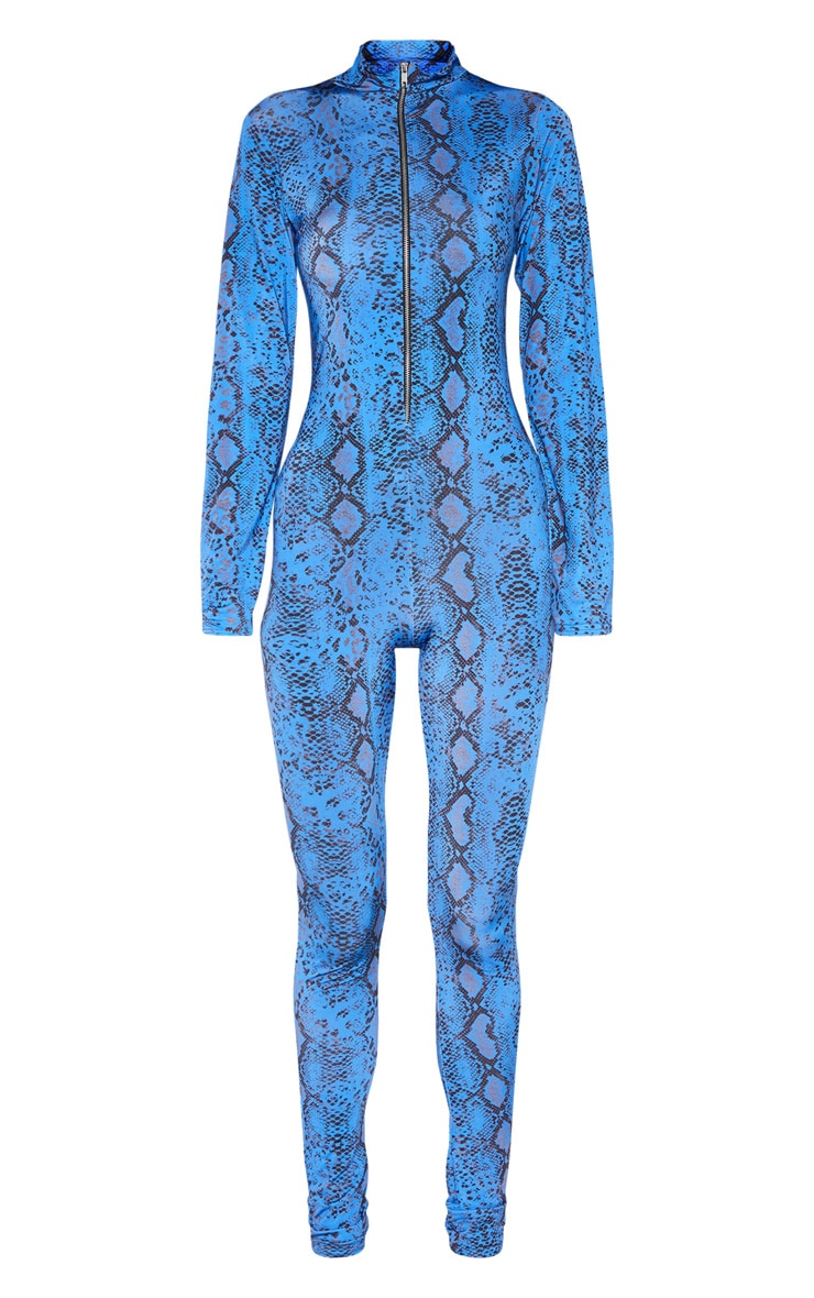 Tall Blue Snake Print Zip Jumpsuit 4