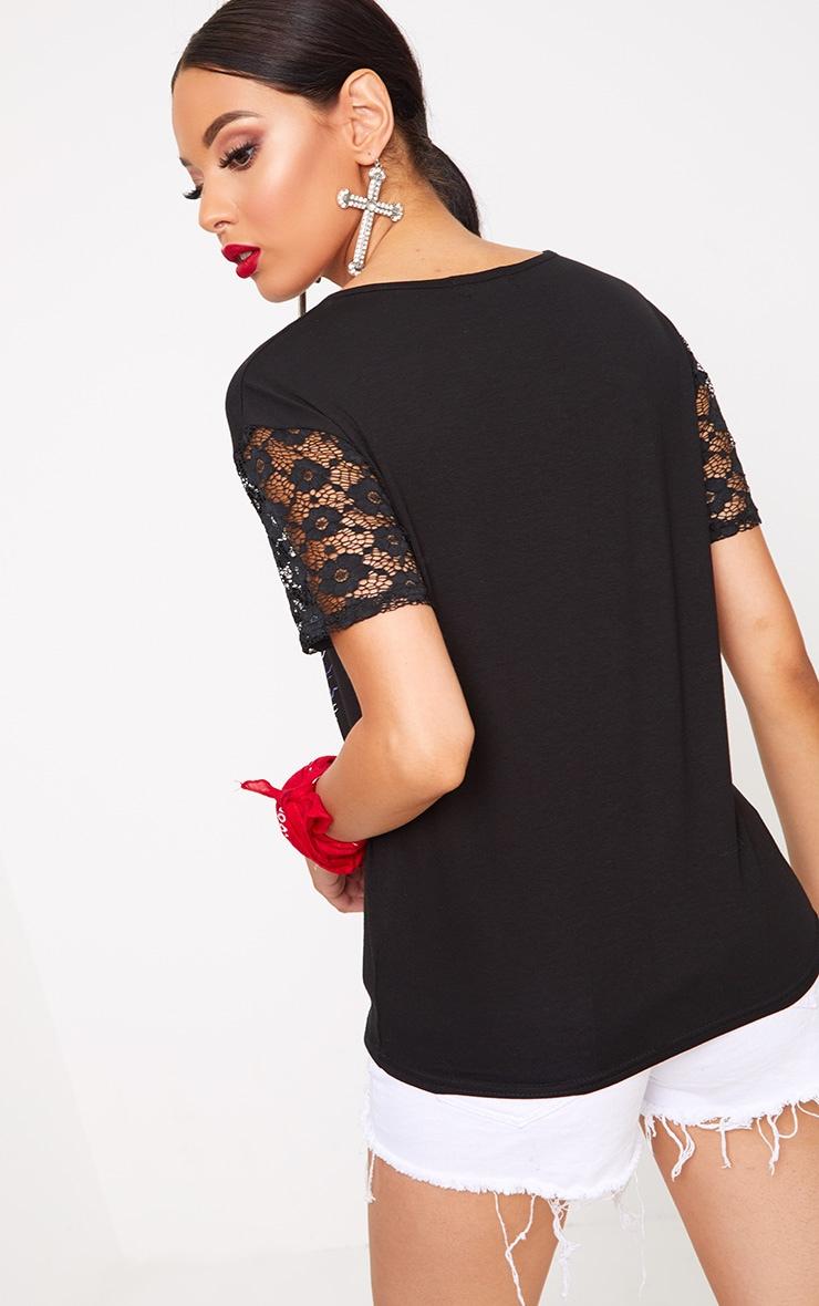 Black Rockstar Slogan Lace Sleeve T Shirt 2