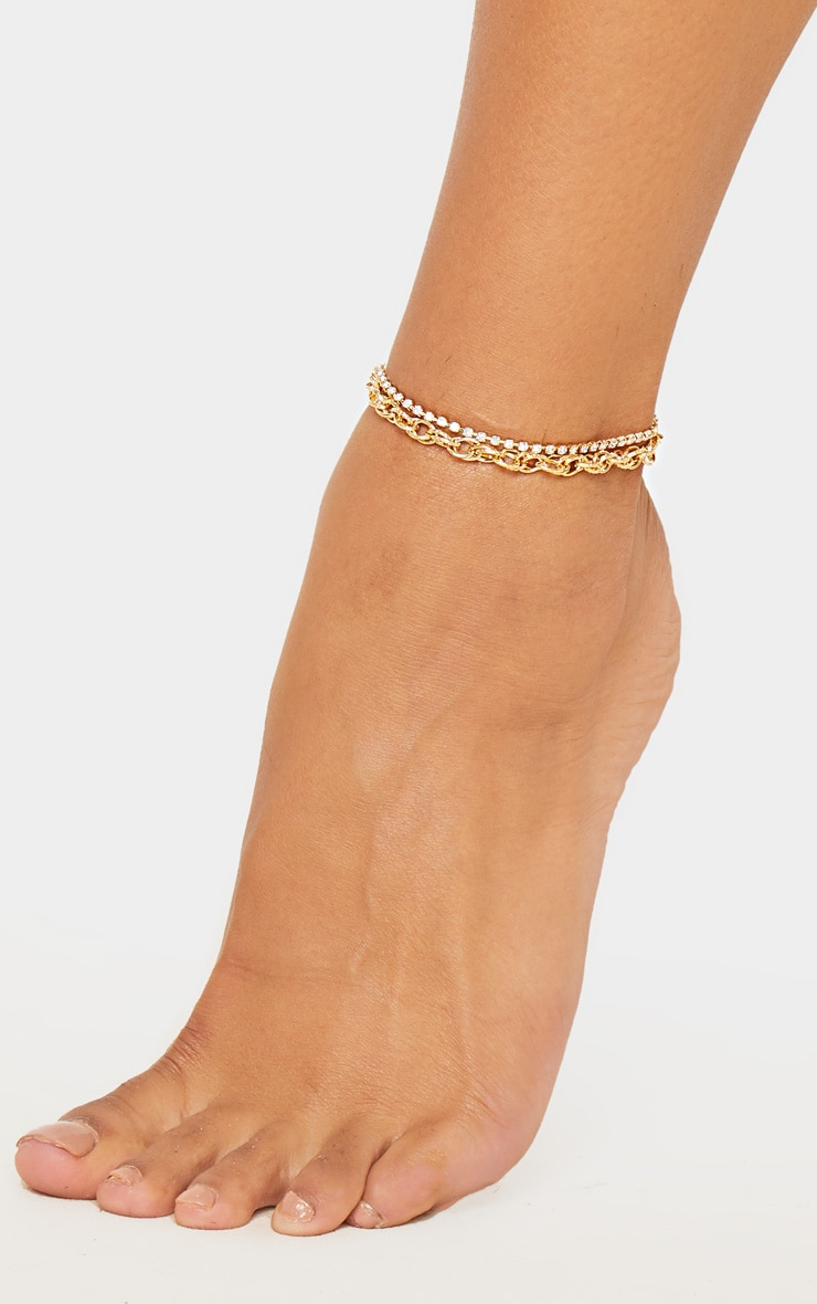 Gold Circle And Diamante Double Line Chain Anklet 2