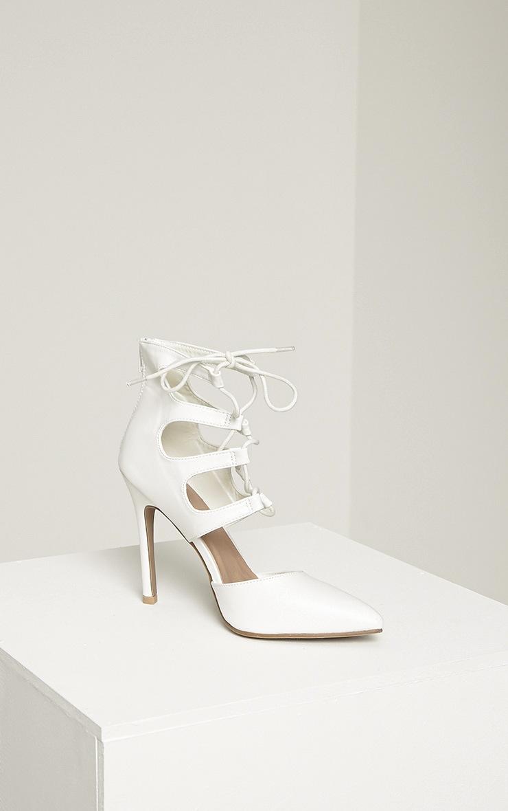 Lydia White PU Lace Up Heeled Sandals 6