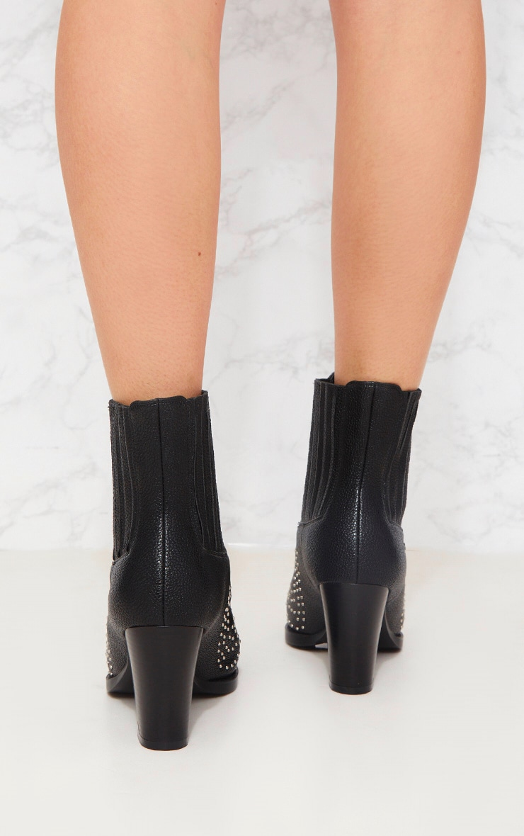 Black Studded Western Boot 2