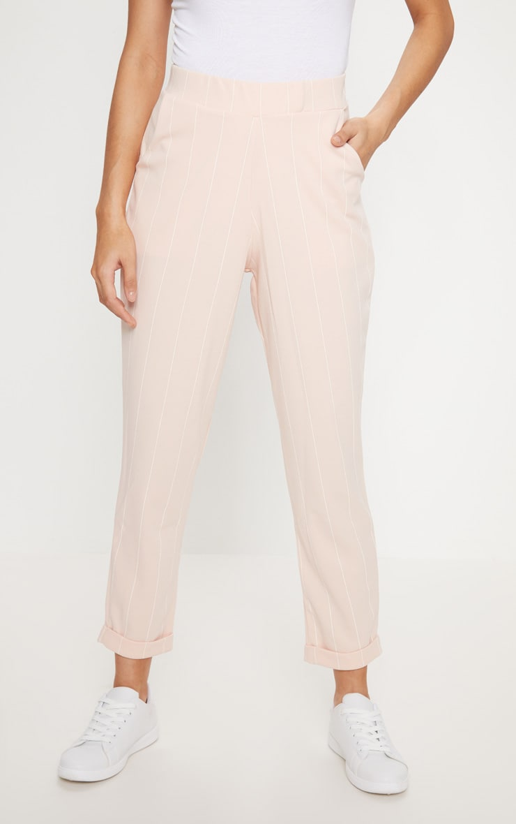 Nude Pinstripe Casual Trousers 2