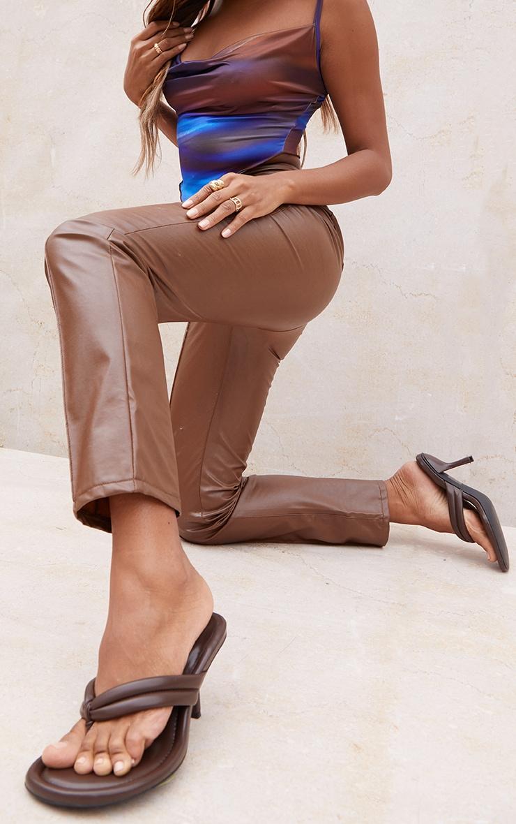 Chocolate Round Toe Thong Tube Strap Heeled Sandals 1