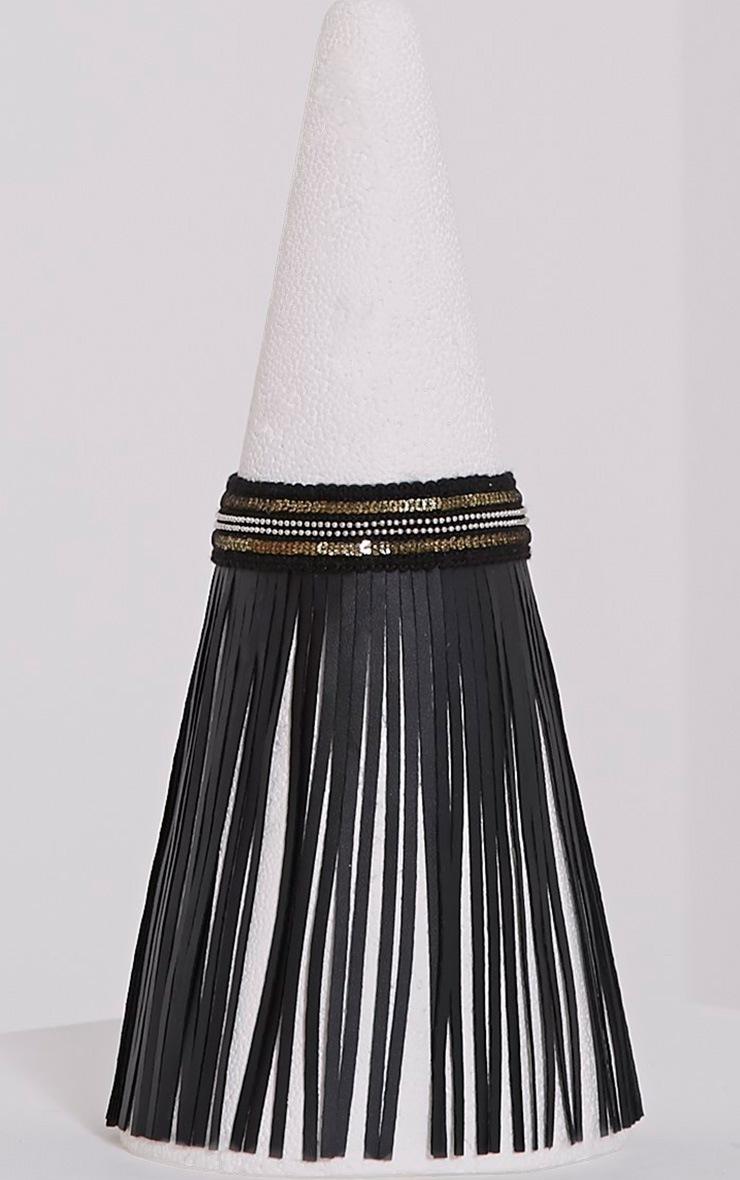 Katey Black Faux Leather Fringe Choker 3