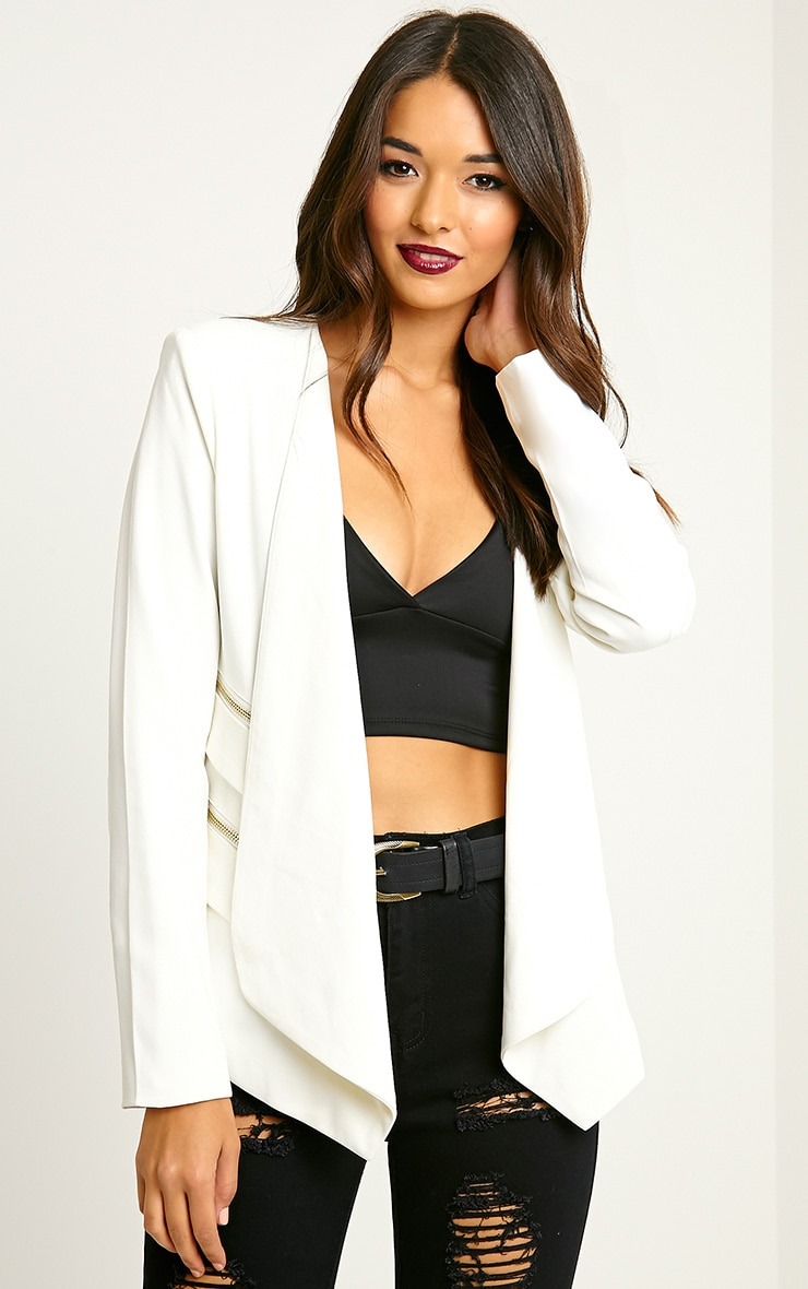 Carlina Cream Zip Pocket Blazer 1