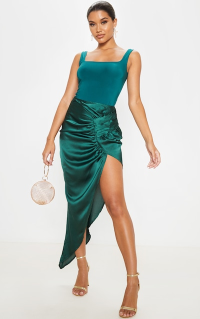 Emerald Green Satin Pleat Detail Midaxi Skirt