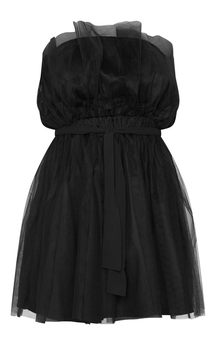 Black Bandeau Tulle Skater Dress 5