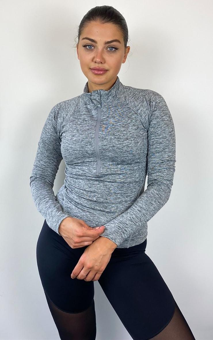 Grey Half Zip Gym Top 1