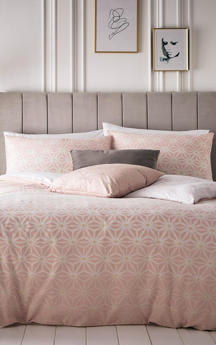 Pink Geometric Reverse Print King Duvet Set 1