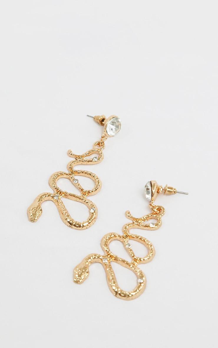 Gold Snake Diamante Drop Earrings 2