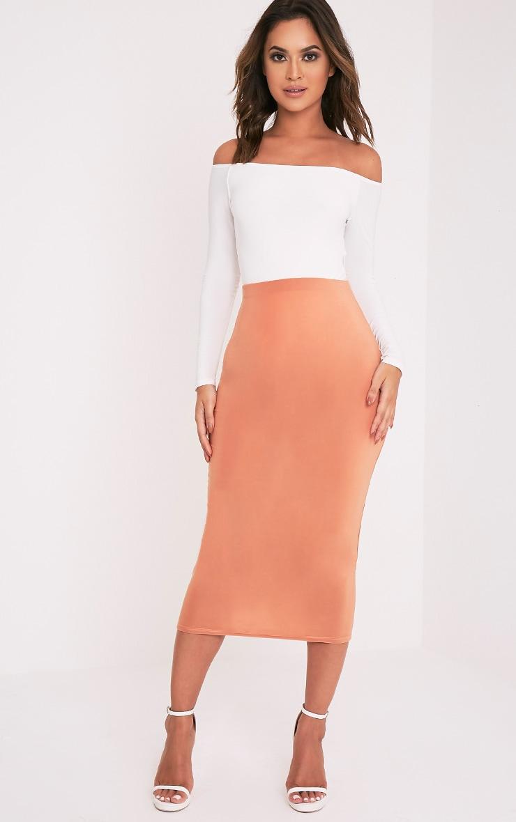 Steffany Peach Slinky Long Line Midi Skirt 1