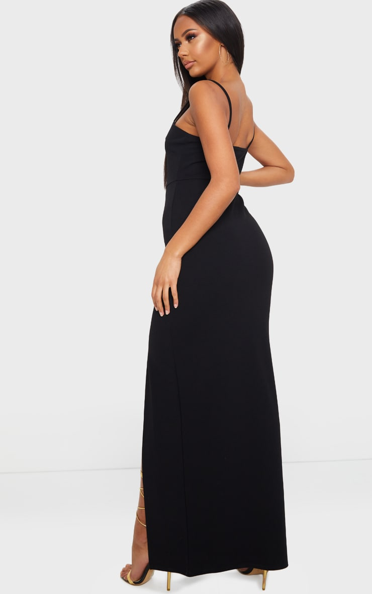 Black V Bar Strappy Maxi Dress 2