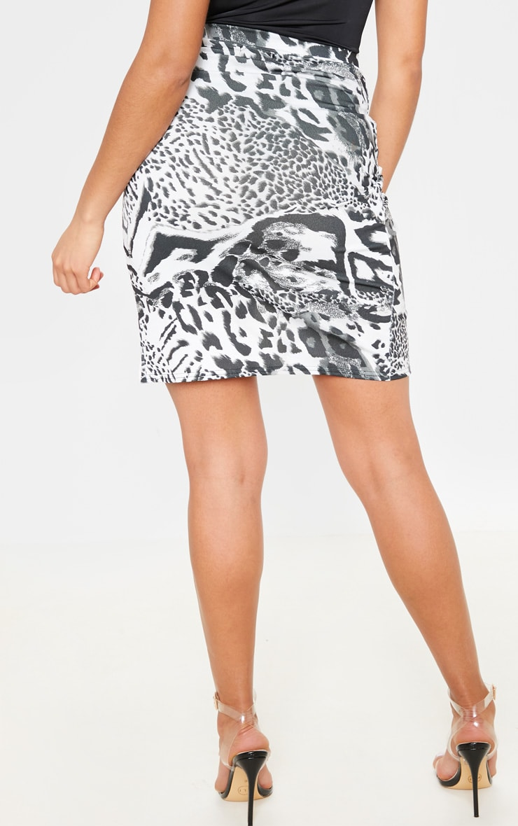 Monochrome Mix Animal Crepe Printed Wrap Skirt 4