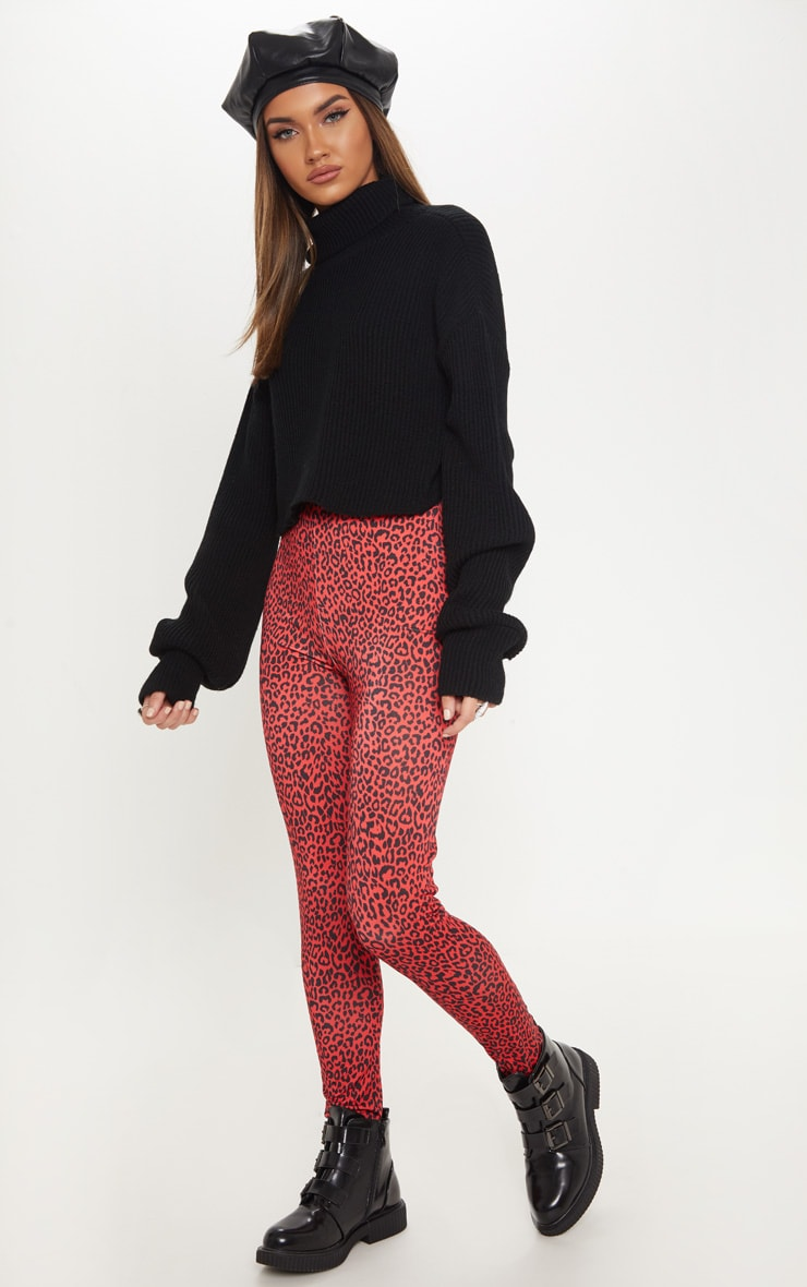 Red Leopard Print Soft Touch Legging 1