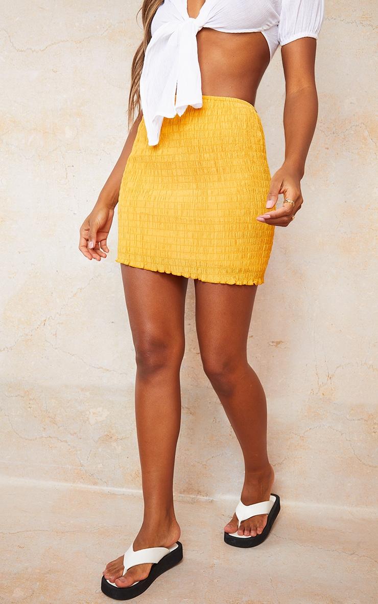 Bright Orange Shirred Textured Mini Skirt 2