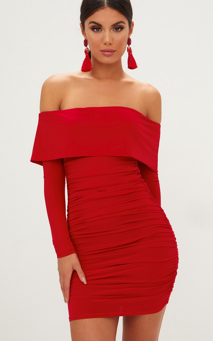 Red Long Sleeve Bardot Ruched Bodycon Dress 1